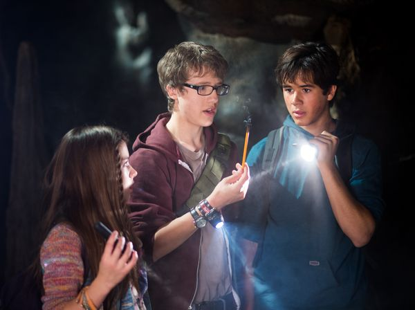 "The Haunted Cave"" – A Haunted Cave Traps the Kids, on ""Spooksville,"" Nov. 9-  L-R: Katie Douglas, Nick Purcha, Keean Johnson"